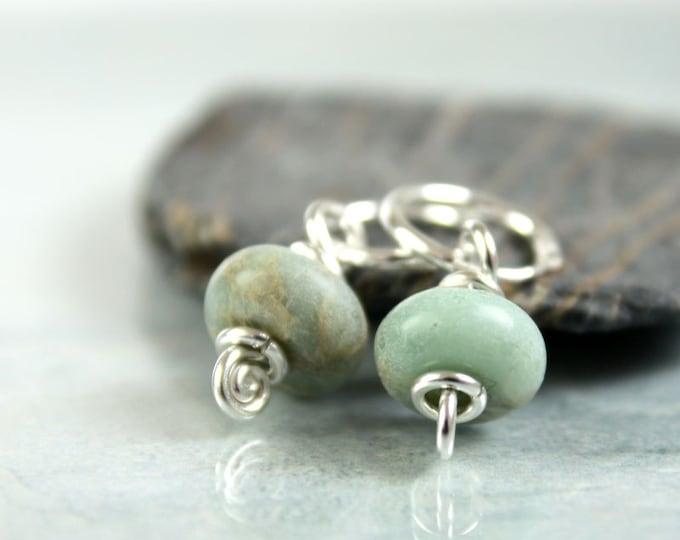Silver & Aqua Terra Jasper Hoops Earring Dangles