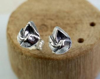 Silver Flame Stud Earrings