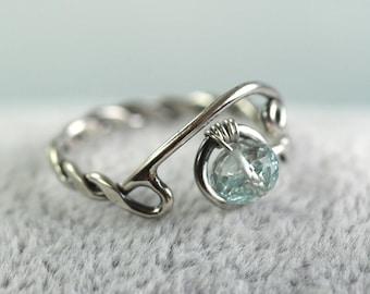 Silver Adjustable Twist Ring with Aquamarine Gemstone  March Birthstone