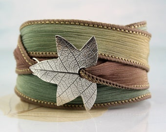 Silver Leaf Bracelet  Soft Silk Ribbon Wrist Wrap
