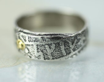 Silver Rune Ring Band With Gold Rivet