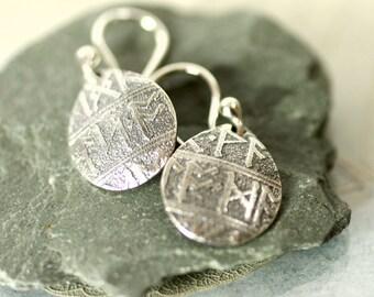 Silver Viking Rune Earrings  Teardrop Earrings Gift for Women Gift idea