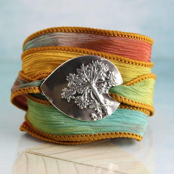 Dandelion Silver Bracelet on Soft Silk Ribbon