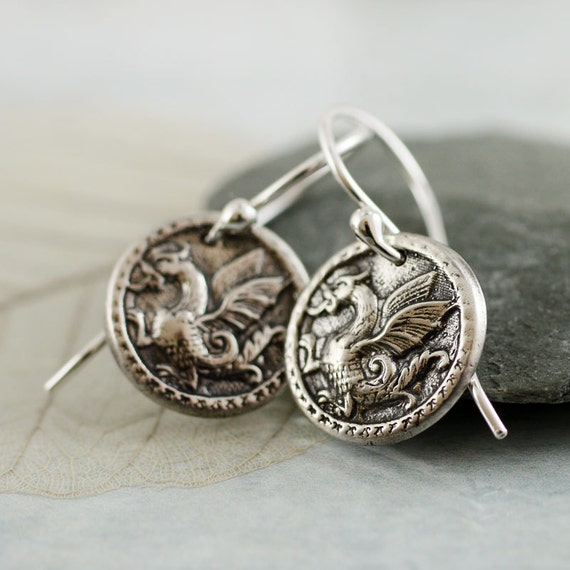 Dragon Amulet Earrings  Silver Charms - Smaug Strikes Again  Dangle Coin Earrings Gift for Women Girls