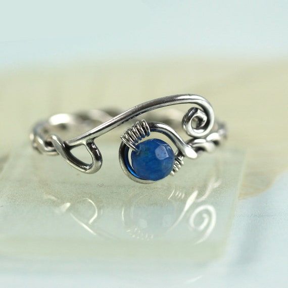 Silver Twist Ring with Blue Jade Bead