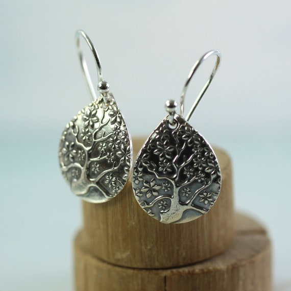 Silver Tree-of-life Dangle Earrings Tree Of Life Drops  Nature inspired  Patina Silver  Drop Earrings