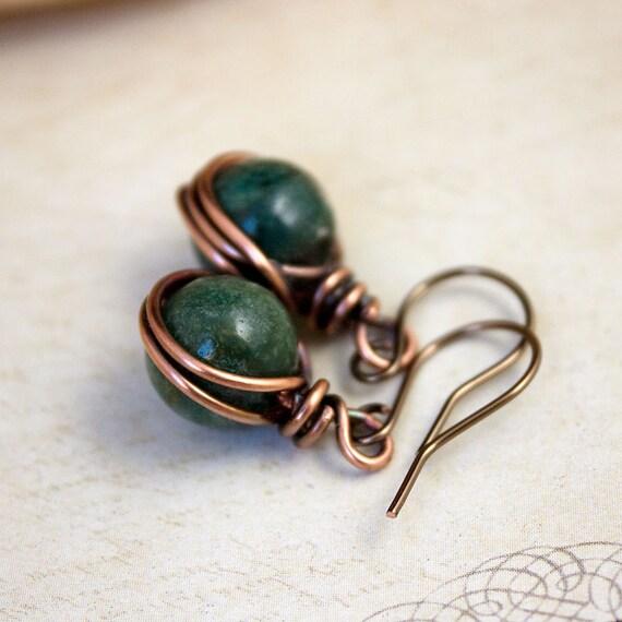 Copper & Agate Earrings Woodland Jewellery