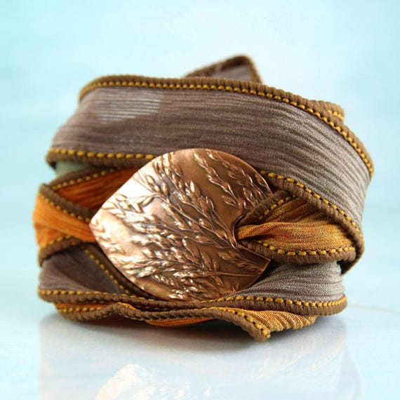 Silk Wrap Bracelet Wild Grasses Copper