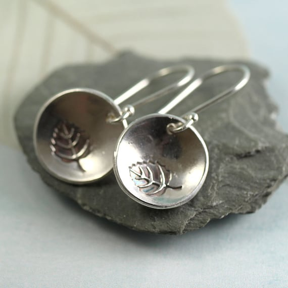 SIlver Leaf Earrings Dangle Leaf Charms