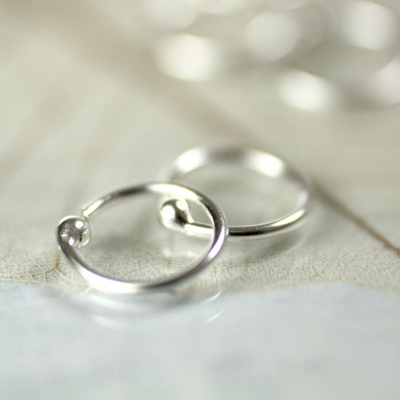 Silver Sleeper Hoop Earrings 11 mm