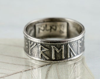Viking Rune Ring Sterling Silver Band | Personalized Custom Ring  | Name Rings | Anglo Saxon Futhorc | Rune Rings | Mans ring | Gift for Men