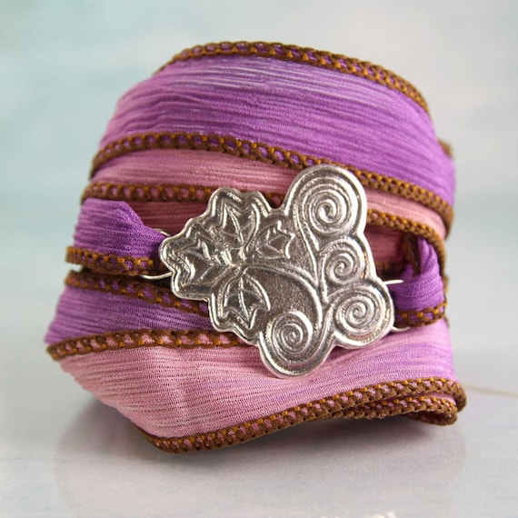 Silver Leaf Cuff Bracelet - Summer jewellery - Hand Dyed Silk Ribbon | Wrap Bracelet | Spiral Ivy Leaves