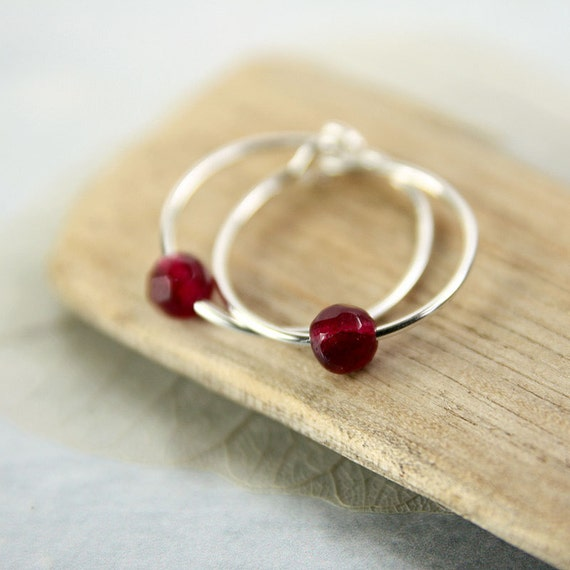 Silver Hoops with Plum Jade Beads