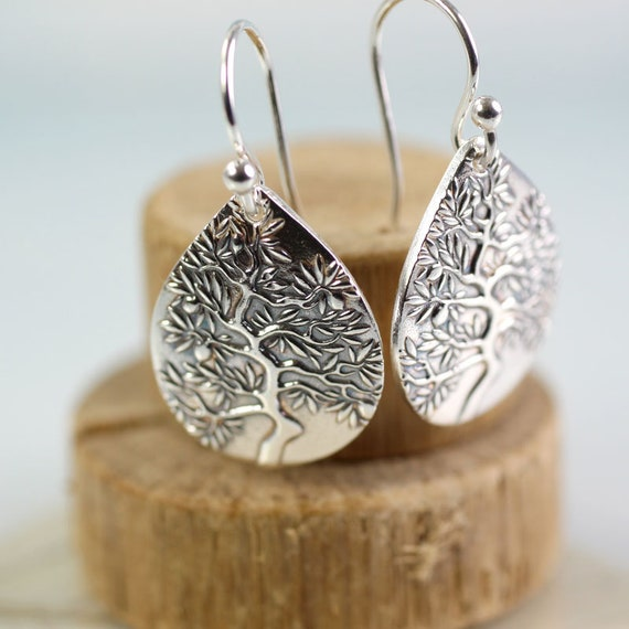Tree Of Life Earrings Silver Drops Jewellery Pear Tree Earrings Bonsai  Dangle Earrings Gift for Mother