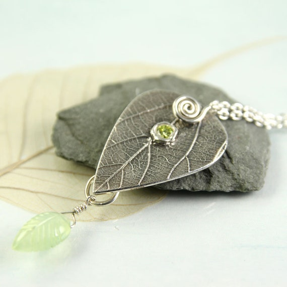 Silver Leaf Necklace with Prehnite drop and Peridot Stone