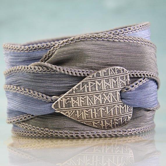 Silver Rune Bracelet Soft Silk Ribbon