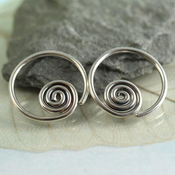 Spiral Sleeper Earrings Silver Hoops 14 mm