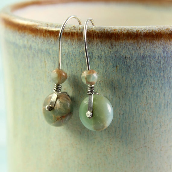 Silver and Jasper Earrings  Riveted Aqua Terra Jasper on Sterling Earwires