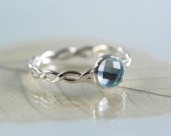 Silver Gem Ring - Sterling Twist Ring with Faceted Topaz Gemstone in Sky Blue | Rope Ring | Twisted Wire Ring | Celtic Ring | Stacking Ring