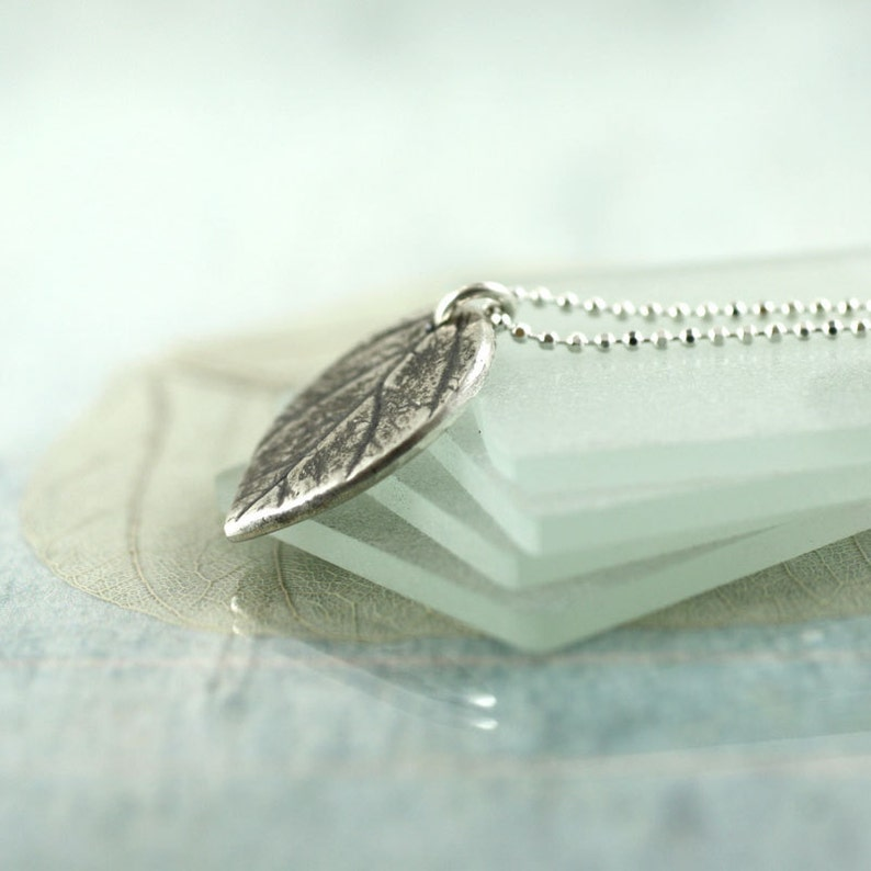 Tiny Silver Leaf Necklace Nature Necklace Leaf Pendant with Delicate Sterling Chain Silver Necklace Girlfriend Woodland Jewellery