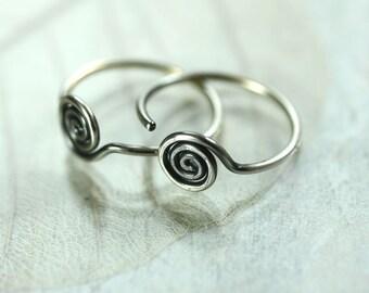 Silver Sleeper Hoops with Spiral Detail - Front Facing | Sterling Silver, Hoop Earrings | Sleeper Earrings | Spiral Hoops