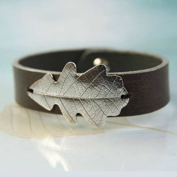 Silver Oak Leaf Bracelet Leather