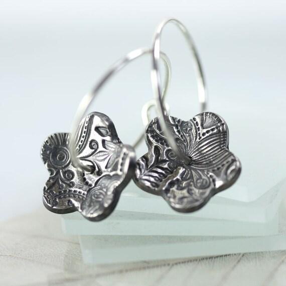 Silver Flower Earrings on Hook and Loop Hoops