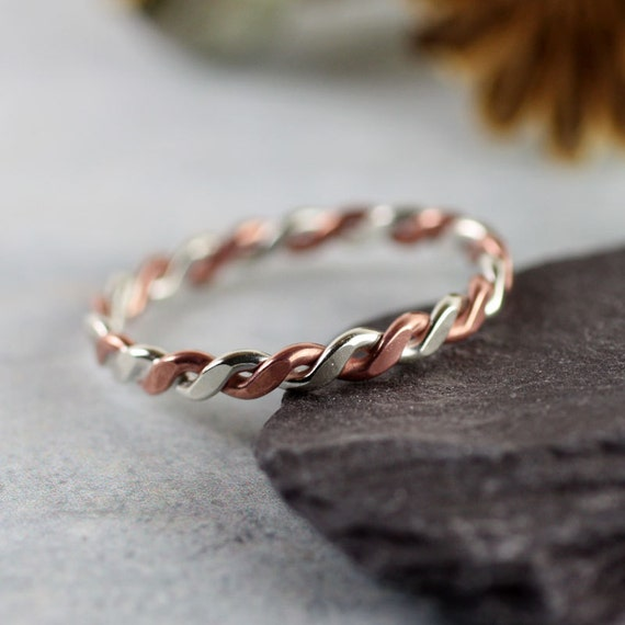 Silver Copper Twist Ring | Mixed Metal | Rope Ring | Stacking Rings
