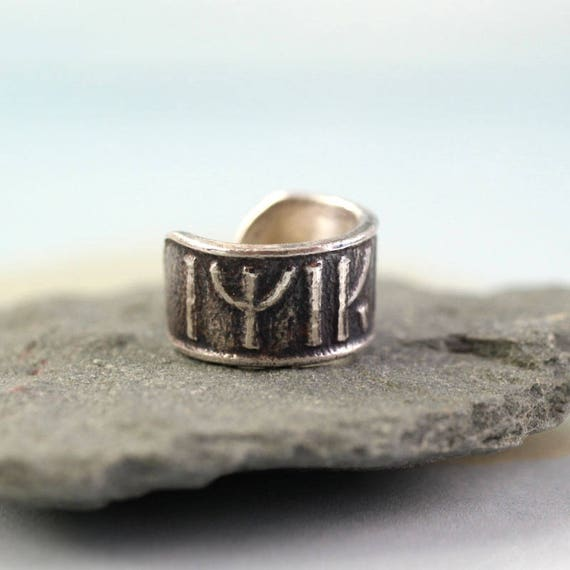 "Silver Ear Cuff with Dwarven Runes ""Come Back to Me"""