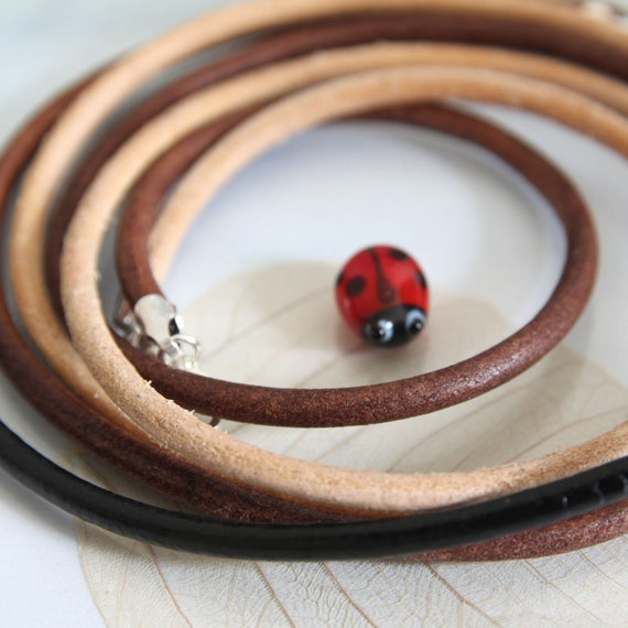 Round Leather Necklace with Sterling Silver Clasp 3 mm Leather Cord