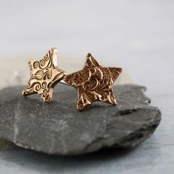 Bronze Star Stud Earrings - Swirls Flower Texture