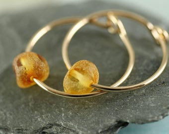 Gemstone Gold Hoops - Amber Earrings | 14 ct Gold Fill Sleeper Earrings with Amber Beads | Gem Hoops