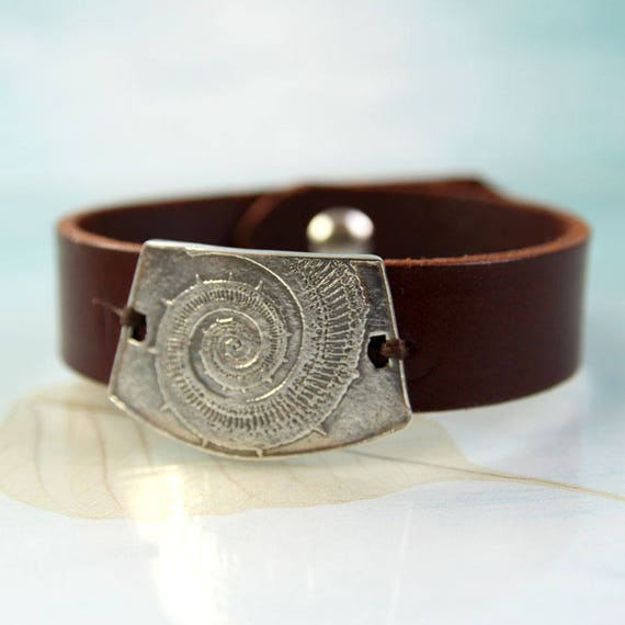 Leather Bracelet With Silver Ammonite Nautilus Impression