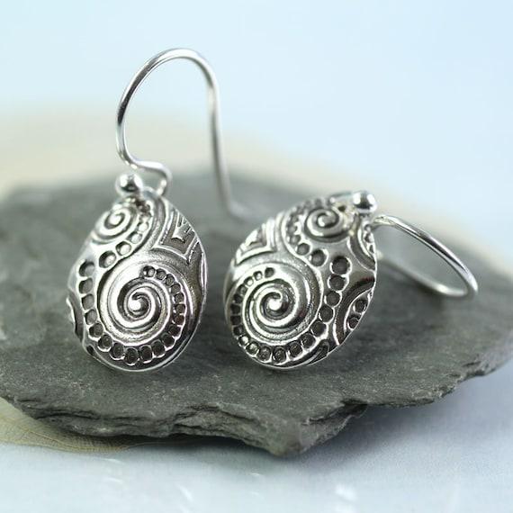 Silver Spiral Earrings - Petal Drop Dangles