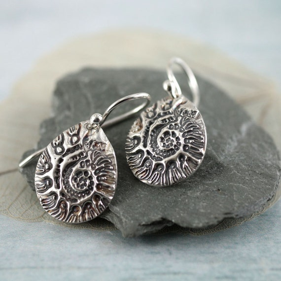 Silver Nautilus Earrings. Shell Ammonite Impression Beach Holiday Mermaid Earrings Nautical Sea Inspired Jewellery