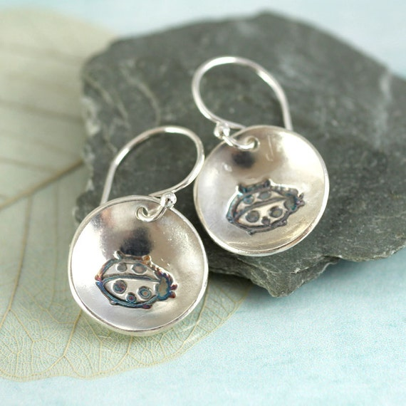 Silver Ladybug Earrings  Silver Dangle Earrings Nature Jewelry  Nature Lover Gift for Girls  Ladybird