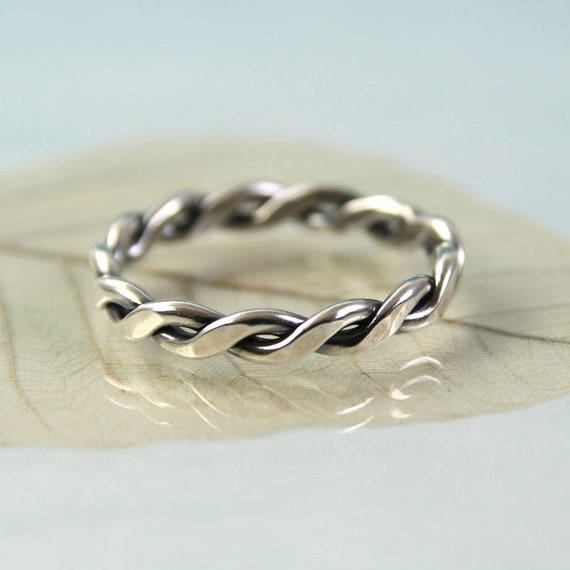 Silver Rope Ring 1.5 mm Wire Celtic Twist Ring 3.5 mm Wide Stacking Ring in Sterling Silver