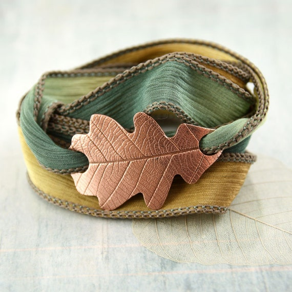 Copper Oak Leaf Bracelet Silk Ribbon Wrist Wrap in Woodland Theme Nature Inspired  Nature jewelry Copper Bracelet Autumn Colours