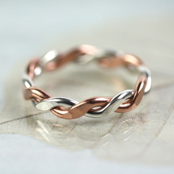 Chunky Silver Copper Twist Ring