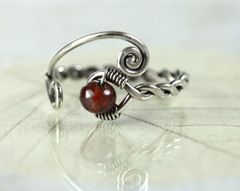 Garnet Twist Ring - Viking Style Rustic Jewellery. Silver with Deep Red Faceted Garnet Bead - Viking Ring, Celtic Ring, Wire Wrapped Ring
