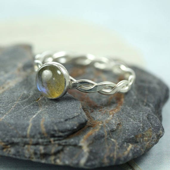Silver Twist Ring - Labradorite Gemstone
