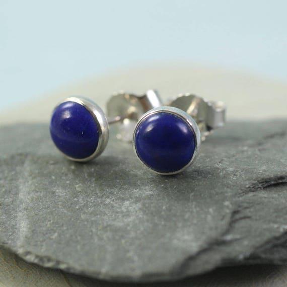 Silver Lapis Lazuli Stud Earrings