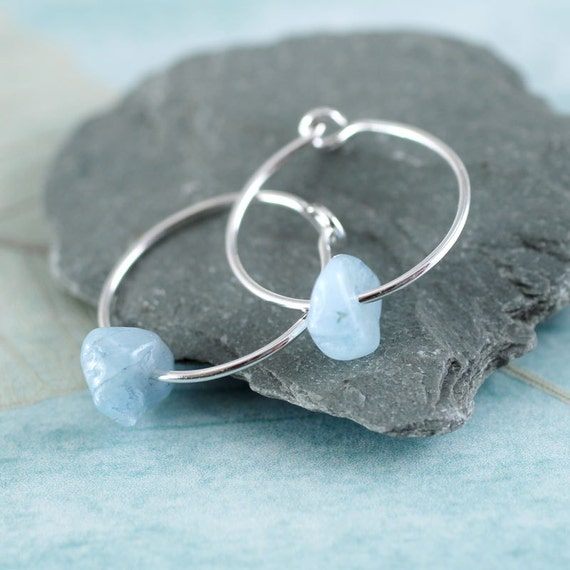 Silver Hoops with Aquamarine Nuggets