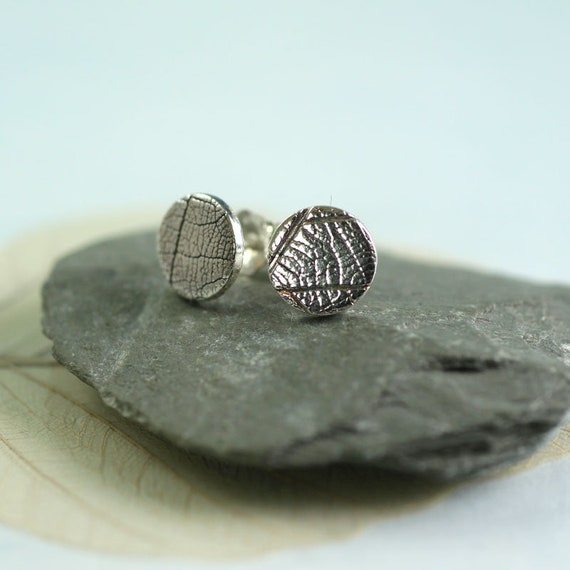 Sterling Silver Studs with Leaf Texture - Round 8mm - Minimalist Silver Woodland Jewellery