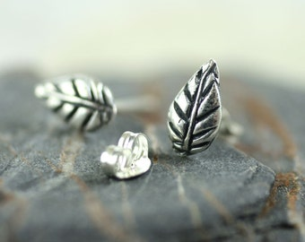 Silver Leaf Stud Earrings - Tiny Nature Studs | Leaf Earrings | Silver Earrings | Cute Earrings | Gift for girls | Silver studs