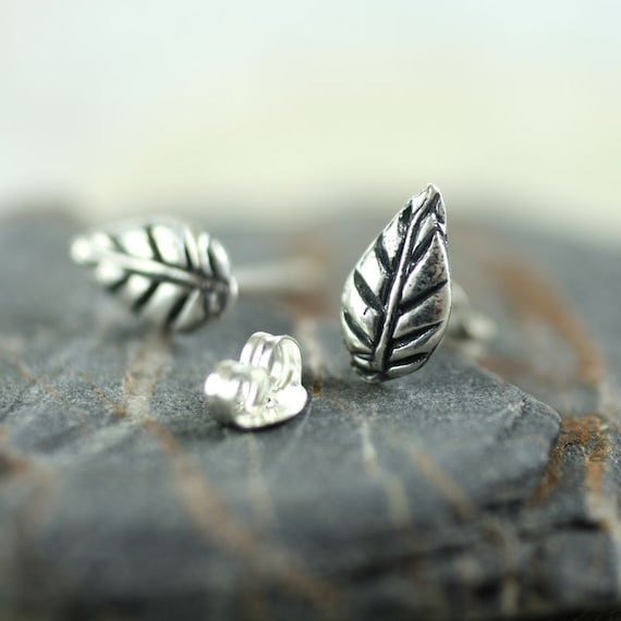 Silver Leaf Stud Earrings - Tiny Nature Studs