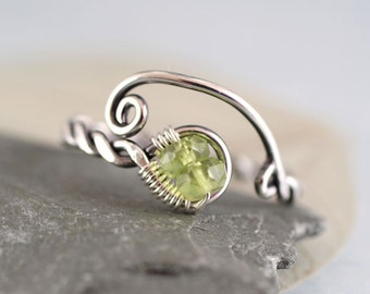 Silver Twist Ring with Peridot Beads - Viking Style Rustic Jewelry - Twisted, Hammered, Handmade | Rope Ring