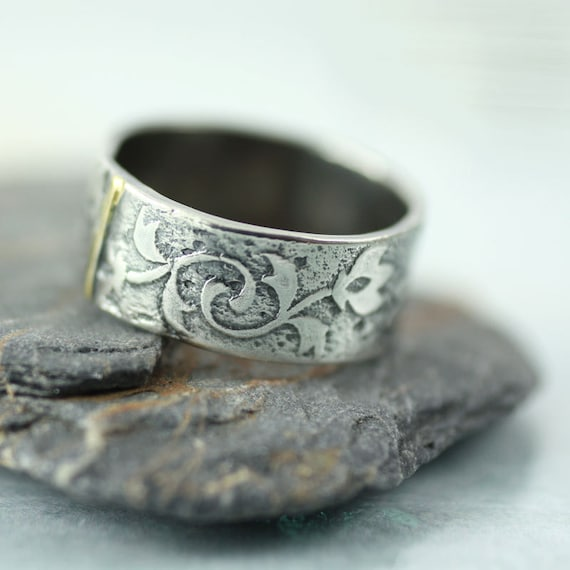 Tulip Ring Wide Sterling Band with Gold Detail