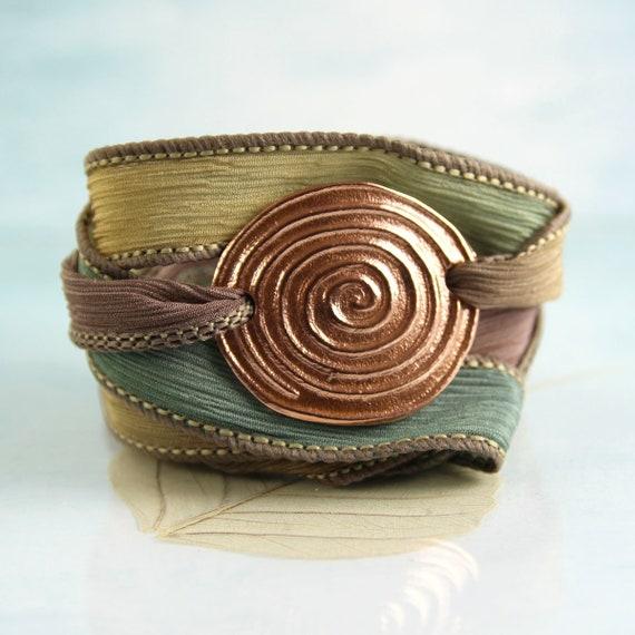 Copper Spiral Bracelet Silk Bracelet Wrist Wrap Cuff Bracelet Druid Jewellery Silk Ribbon Wrap Bracelet
