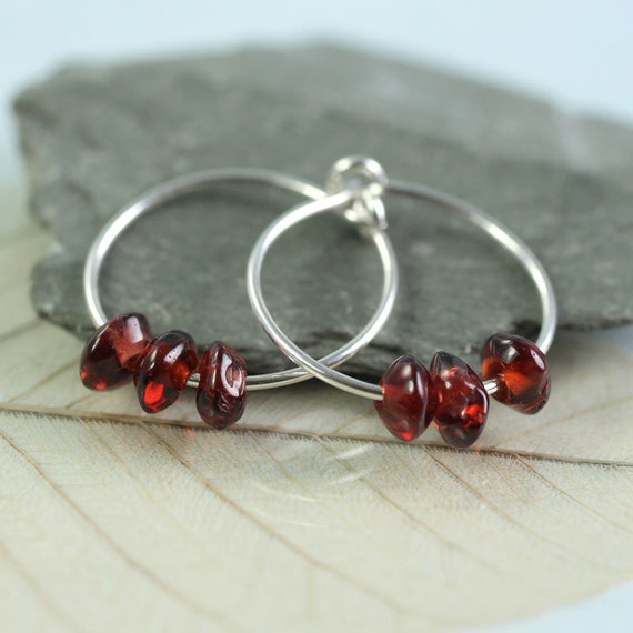 Silver Hoops with Garnets
